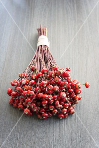 A bunch of rosehips on a wooden surface