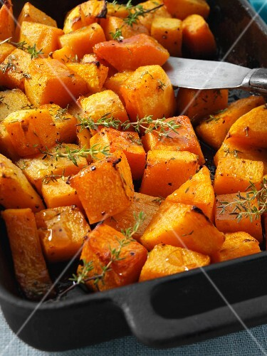 Oven-roasted butternut squash with thyme