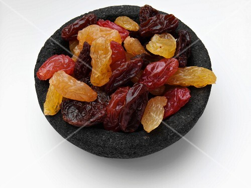 Dried fruit in a stoneware bowl