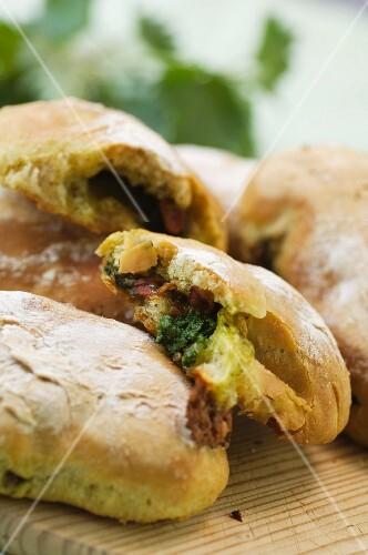 Ciabatta with stinging nettle pesto and mozzarella