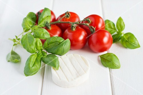 Vine tomatoes, basil and goats cheese