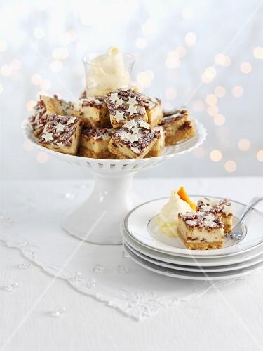 Cheesecake tray bake with Christmas pudding and Cognac