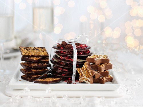 Gold-coated chocolate, Black Forest chocolate drops and gingerbread chocolate hearts
