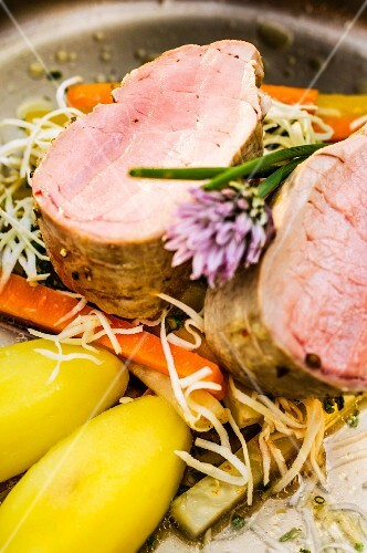 Styrian Mangalitsa pork fillet with root vegetables