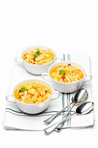 Pasta soup with potatoes