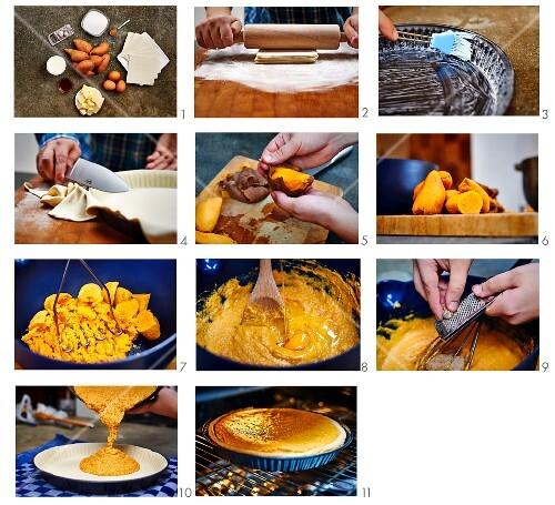 Potato and sweetcorn tart being made