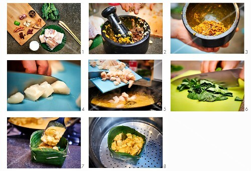 Amok - Cambodian fish curry served in a banana leaf being made