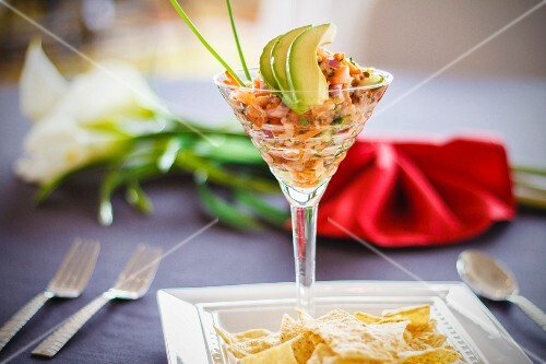 Seafood ceviche with avocado