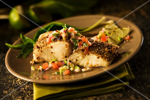 Halibut with coriander and cumin