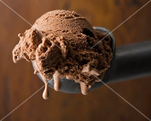 Scoop of Chocolate Ice Cream in an Ice Cream Scoop