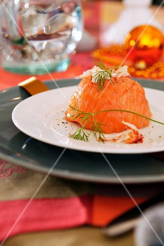 A salmon parcel with dill for Christmas dinner