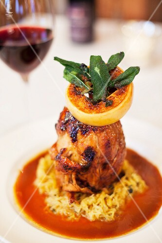 Duck with orange sauce and sage