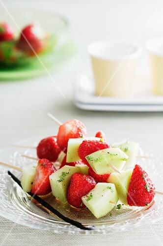 Strawberry and melon skewers