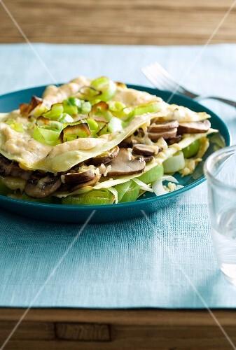 Lasagne with leek and mushrooms