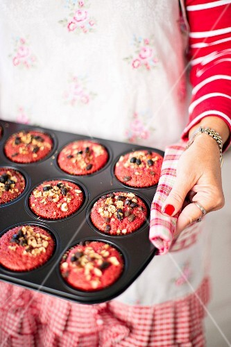 Red hazelnut muffins