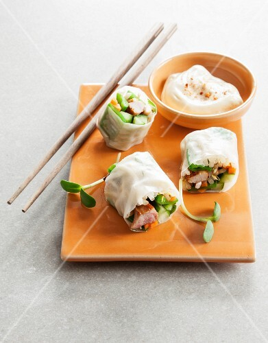 Rice paper rolls with chicken and a dip