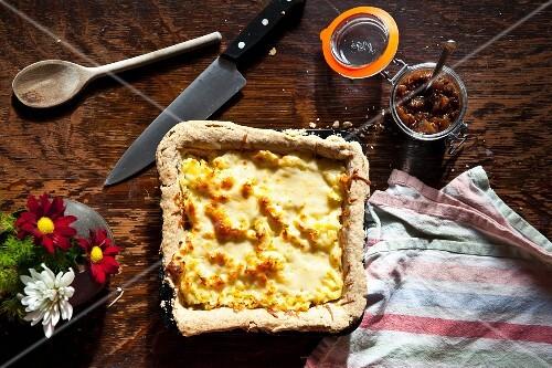 Homity pie with apple chutney