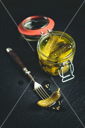 A jar of pickled gherkins