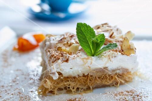 Ekmek (layered desserts made with kadaifi and cream, Greece)