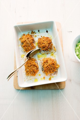 Fish fillets with a bread coating
