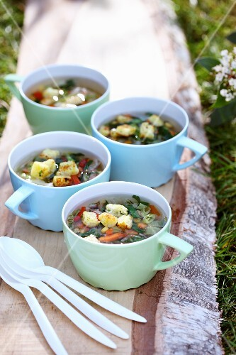 Light vegetable and herb soup with croutons