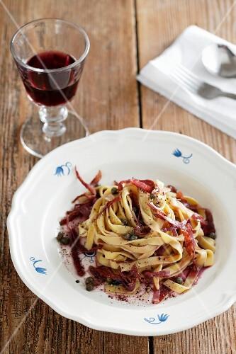 Tagliatelle prosciutto e capperi (tagliatelle with ham, Italy)