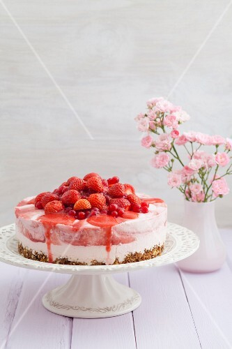 Close up of plate of fruit cheesecake