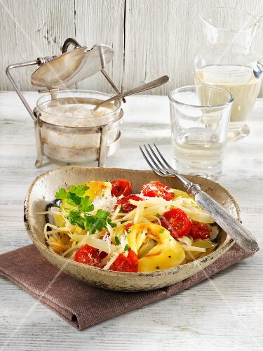 Tortellini with parsnips and cherry tomatoes