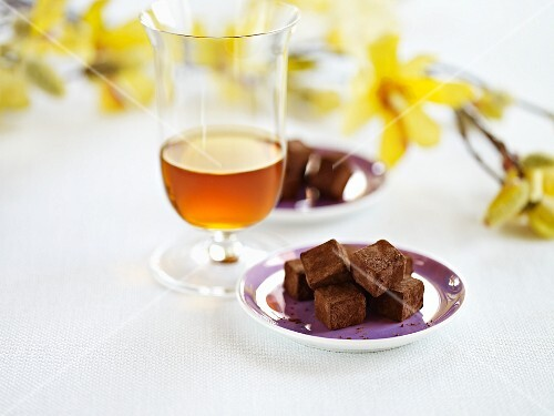 A plate of whisky truffles