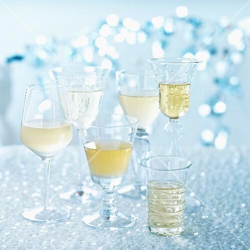 Various different white wine glasses