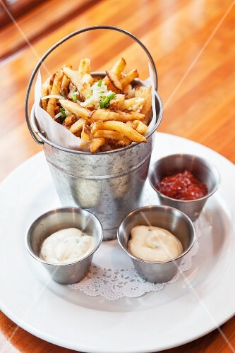 Fries with three different dips