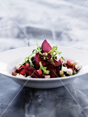 Beetroot salad with apple and feta cheese