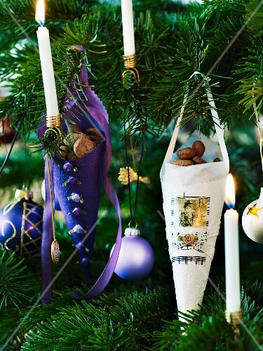 Paper bags of nuts used as Christmas tree decorations