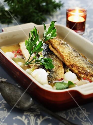 Fried herring in a marinade (Scandinavia)
