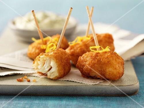 Fried cod cheeks with lemon zest