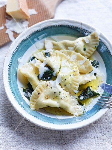 Maultaschen (Swabian ravioli) with sage butter and Parmesan