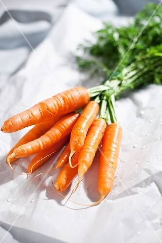 Fresh carrots on paper