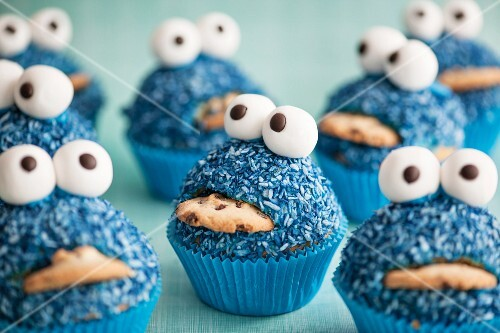 Blue monster cupcakes