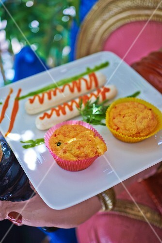 Boudins Blanc with spicy vegetable cupcakes