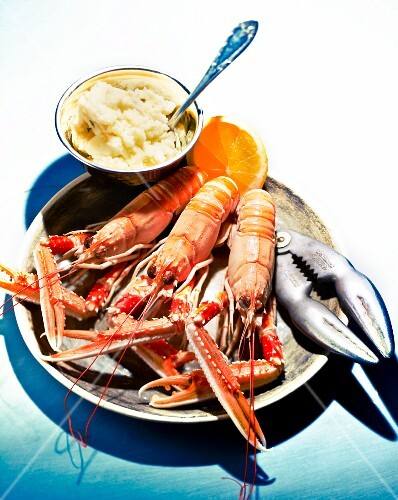 Scampi with mashed potatoes