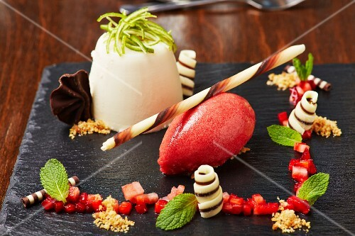 Strawberry sorbet with panna cotta
