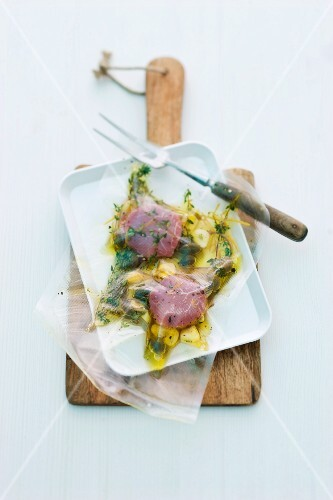Marinated veal fillet, vacuum packed