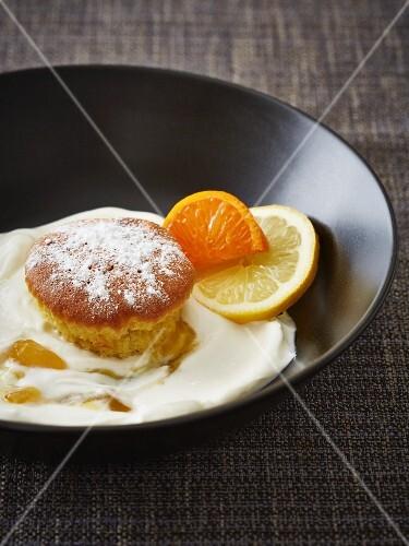 A cupcake with yogurt and lemon