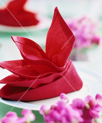 A decoratively folded red napkin on a plate