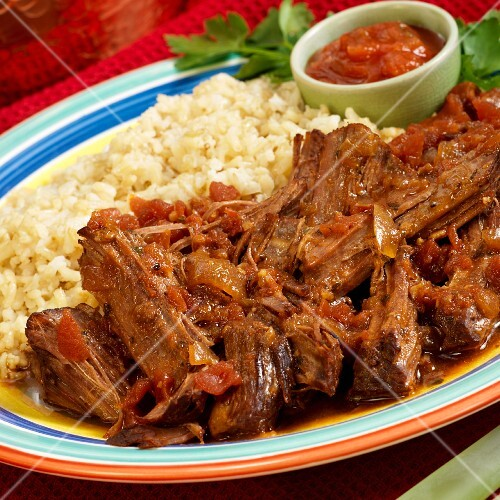 Roast beef with rice and salsa (Mexico)
