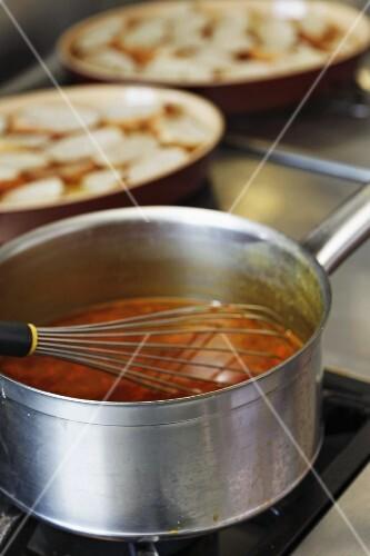 Sopa grassa (thick bread soup, Savoy) being made