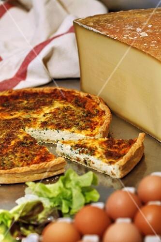 A cheese tart made with Beaufort from Savoyen