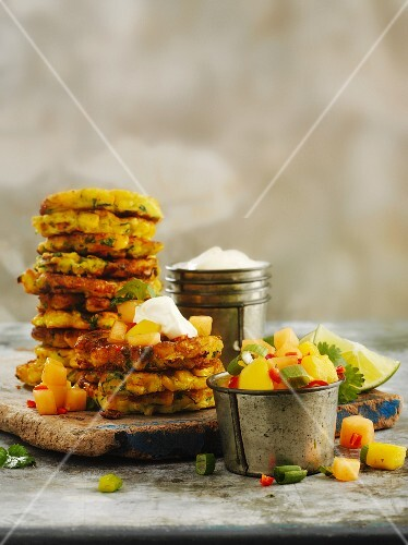 Corn cakes with fruity salsa