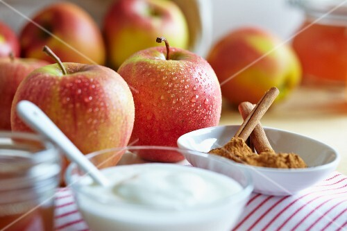 Fresh apples, yogurt and cinnamon