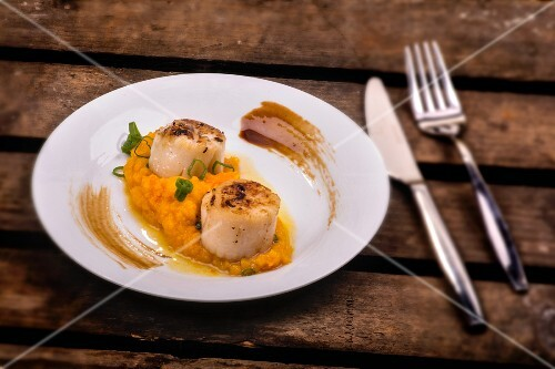 Scallops on a bed of mashed pumpkin and truffles